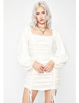 Ivory Hissy Fit Ruched Mini Dress by Dolls Kill