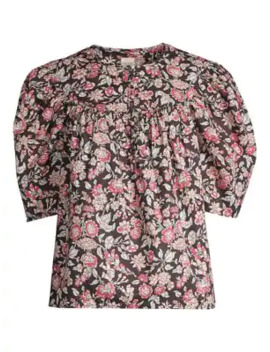 Floral Falaise Puff Sleeve Top by Rebecca Taylor