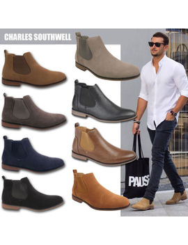 Mens Faux Suede Chelsea Boots Designer Smart Casual Desert Dealer Ankle Shoes by Charles Southwell