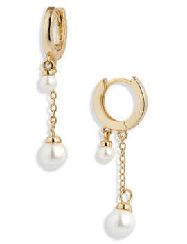 Adina's Jewels Double Imitation Pearl Huggie Earrings by Adina's Jewels