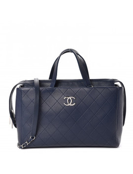 Chanel Grained Calfskin Stitched Large Magnetic Shopping Tote Blue by Chanel