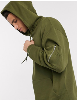 Asos Design Oversized Hoodie With Ma1 Pocket In Khaki by Asos Design
