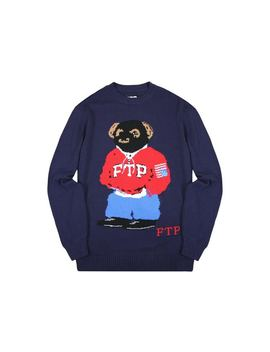 Ftp Bear Knit Sweater Navy by Stock X
