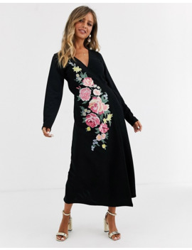 Asos Design Long Sleeve Embroidered Wrap Midi Dress by Asos Design
