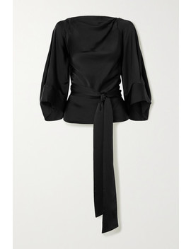 Cosima Open Back Satin Wrap Blouse by Petar Petrov