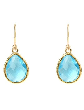 Petite Drop Earring Gold Blue Topaz Hydro by Latelita