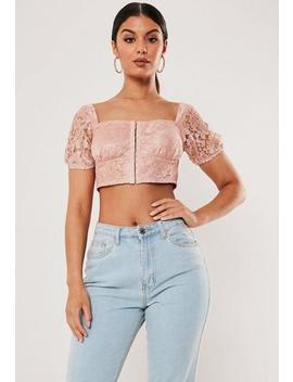 Blush Lace Puff Sleeve Crop Top by Missguided