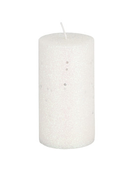 Silver & White Glitter Pillar Candle by The Range