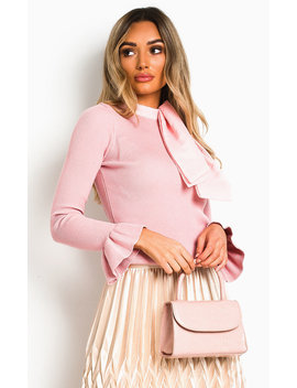 Delilah Ribbed High Neck Jumper In Pink by Ikrush
