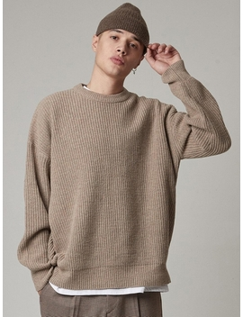 Lambs Wool Crewneck Over Knit Beige by Takeasy