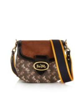 Kat Carriage Print Saddle 20 Cross Body Bag   Brown by Coach
