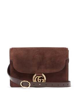 Gg Ring Small Suede Shoulder Bag by Gucci