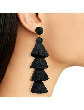 Long Black Tassel Earrings Dangle Long Drop Tassle Fringe Trendy Fashion Boho Uk by Ebay Seller