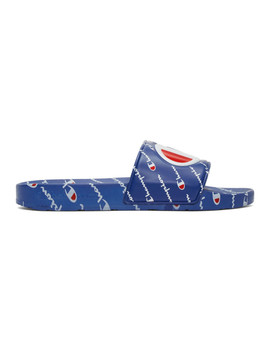 Blue Ipo Repeat Slides by Champion Reverse Weave