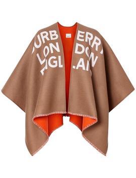 Burberry Tan Logo Detail Wool Jacquard Poncho/Cape by Burberry