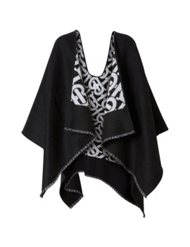 Monogram Wool Jacquard Cape In Black by Burberry