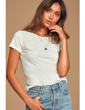 Basically Perfect White Short Sleeve Tee by Lulus Basics