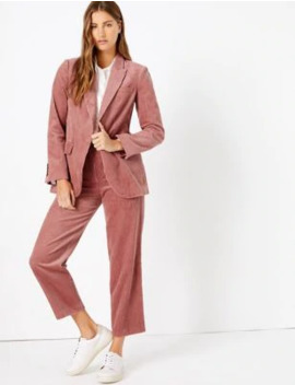 Pure Cotton Corduroy Blazer &Amp; Trousers Suit Set by Marks & Spencer