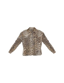 Petite Tan Leopard Oversized Denim Shirt  by Prettylittlething