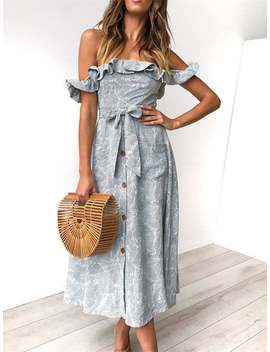 Stringy Selvedge Button Up Off Shoulder Midi Dress by Etsy