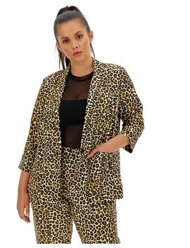 Leopard Print Satin Blazer by Simply Be