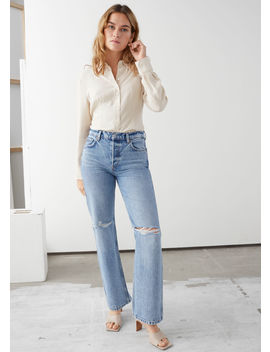 Straight Mid Rise Distressed Jeans by & Other Stories
