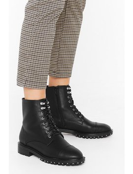Stud Rand Lace Up Speed Hook Pu Hiker Boots by Nasty Gal