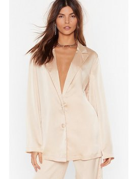 Sleek To Our Heart Satin Longline Shirt by Nasty Gal