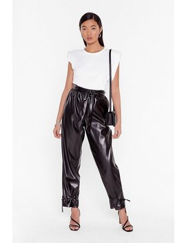 Tie 'em Down Faux Leather High Waisted Pants by Nasty Gal