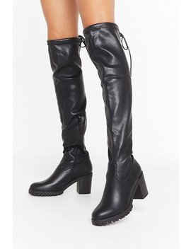 Lemme See You Strut Faux Leather Over The Knee Boots by Nasty Gal