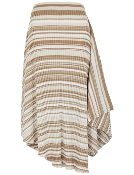Brown Striped Draped Wool Midi Skirt by Jw Anderson