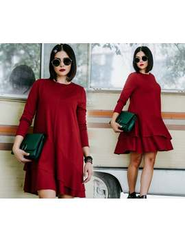 Red Flare Dress, Elegant Dress, Long Sleeve Dress, Cocktail Dress, Plus Size Clothing, Frill Dress, Formal Dress, Evening Dress, Holiday by Etsy