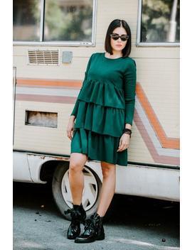 Women Green Dress, Ruffle Dress, Winter Dress, Long Sleeve Dress, Midi Dress, Elegant Dress, Layered Dress, Loose Dress, Petite Dress by Etsy