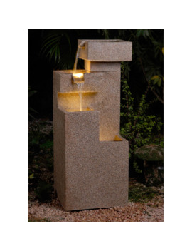 Jeco Sand Stone Cascade Tiers Outdoor / Indoor Lighted Outdoor Fountain by Jeco