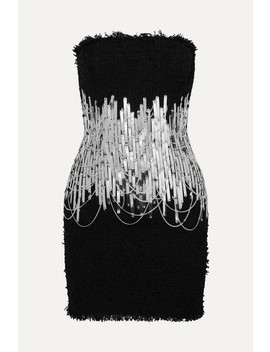 Embellished Strapless Tweed Mini Dress by Balmain