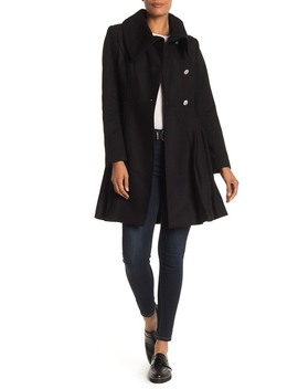 Solid Button Front Fit & Flare Coat by Guess