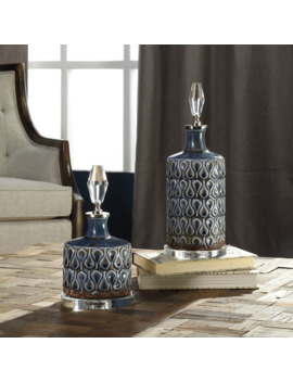 Uttermost Varuna Cobalt Blue Bottles   Set Of 2 by Uttermost