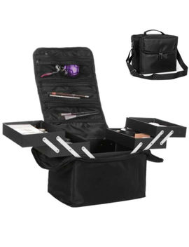 Large Beauty Makeup Train Case Cosmetic Organizer Vanity Box Shoulder Strap by Unbranded