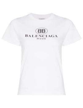 Kortärmad Bomulls T Shirt Med Logotyp by Balenciaga