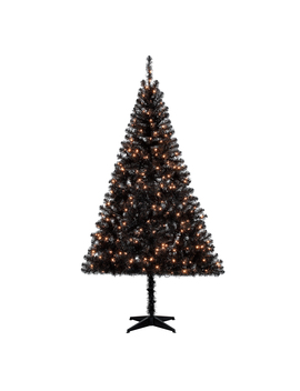 Holiday Time Pre Lit 6.5' Madison Pine Black Artificial Christmas Tree, Clear Lights by Holiday Time