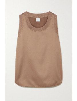 Leisure Roseto Ribbed Knit Trimmed Satin Tank by Max Mara
