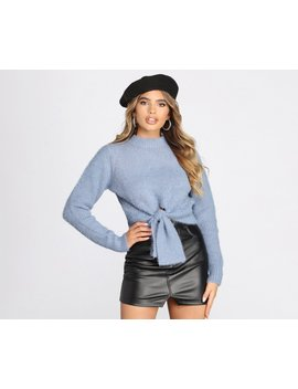 Tie Front Angora Knit Cropped Sweater by Windsor