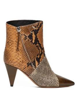 Latts Snake Effect Leather Ankle Boots by Isabel Marant