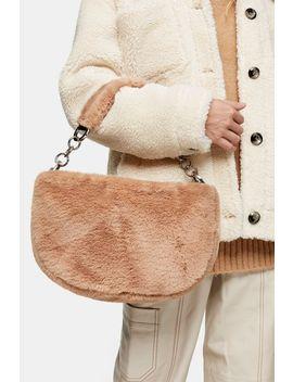 Florence Beige Faux Fur Shoulder Bag by Topshop
