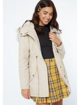 Beige Quilt Fur Hood Anorak Jacket by Rue21