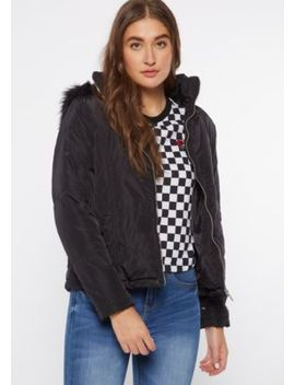 Black Fitted Quilt Puffer Jacket by Rue21