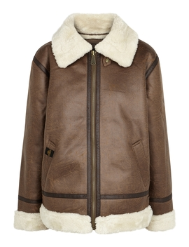 B3 Brown Faux Leather Jacket by Alpha Industries