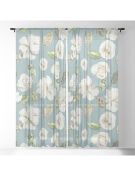 White Roses With Duck Egg Blue Sheer Curtain by Society6