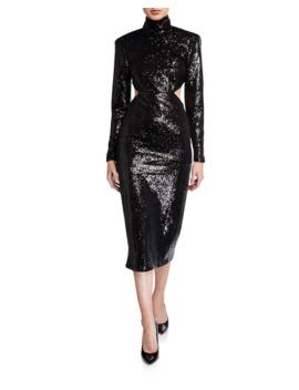 Daniela Cutout Sequined High Neck Dress by Cinq A Sept