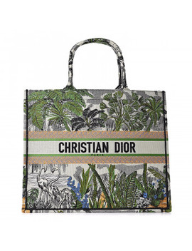 Christian Dior Embroidered Toile De Jouy Tropicalia Canvas Book Tote Leaf Green by Christian Dior